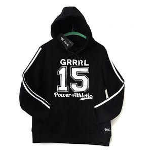 High neck black & white pullover hoodie GRRRL